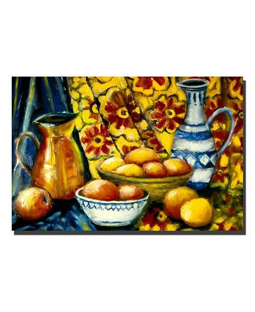 "Trademark Global Michelle Calkins 'Still Life with Oranges' Canvas Art - 14"" x 19"""