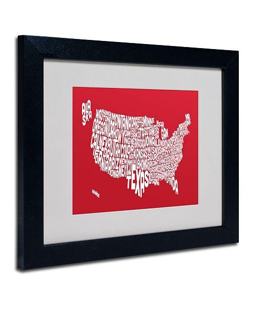 "Trademark Global Michael Tompsett 'RED-USA States Text Map' Matted Framed Art - 14"" x 11"""
