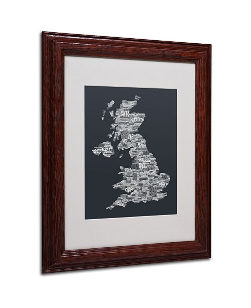 "Trademark Global Michael Tompsett 'UK Cities Text Map 4' Matted Framed Art - 14"" x 11"""