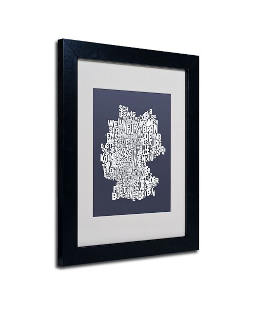 "Trademark Global Michael Tompsett 'SLATE-Germany Regions Map' Matted Framed Art - 14"" x 11"""