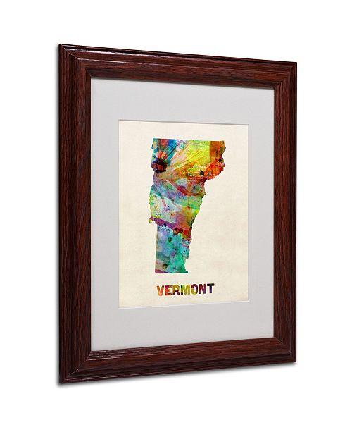"Trademark Global Michael Tompsett 'Vermont Map' Matted Framed Art - 14"" x 11"""