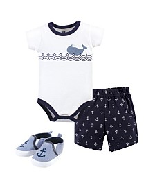 Hudson Baby Baby Cotton Bodysuit, Shorts and Shoe Set