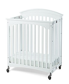 "Royale Folding Fixed-Side Compact Crib, Slatted with 4"" Casters"