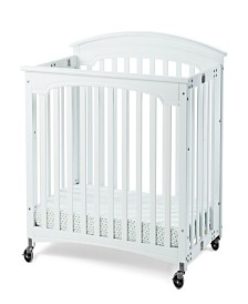 """Royale Folding Fixed-Side Compact Crib, Slatted with 4"""" Casters"""