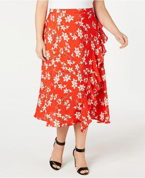 Calvin Klein Plus Size Floral-Print Ruffle-Front Skirt