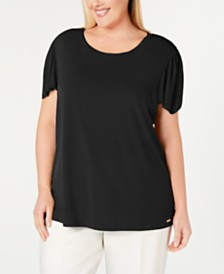 Calvin Klein Plus Size Sweater-Knit-Trim Top