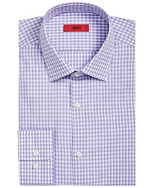 HUGO Men's Slim-Fit Lavender Micro-Check Dress Shirt
