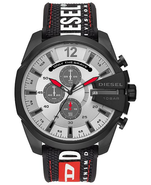 Diesel Men's Chronograph Mega Chief Black Silicone Strap Watch 51mm