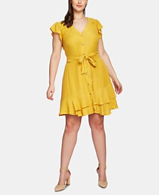 1.STATE Plus Size Button-Front Asymmetrical Dress