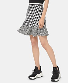 MICHAEL Michael Kors Checkered Ruffle-Hem Skirt