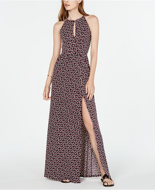 Michael Kors Printed Halter Slit Maxi Dress, in Regular & Petite Sizes