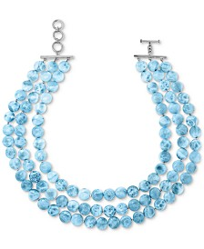 "Marahlago Larimar Multi-Strand Statement Necklace in Sterling Silver, 16-1/4"" + 1"" extender"