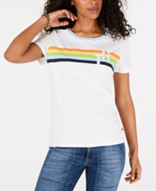 Tommy Hilfiger Crew-Neck Rainbow-Graphic T-Shirt, Created for Macy's