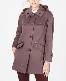 London Fog Double-Collar Hooded Raincoat