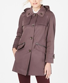 London Fog Petite Double Collar Hooded Raincoat