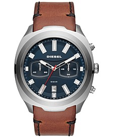 Men's Chronograph Tumbler Brown Leather Strap Watch 48mm
