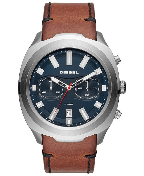 Diesel Men's Chronograph Tumbler Brown Leather Strap Watch 48mm
