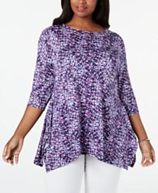 Belldini Plus Size Floral-Print Handkerchief-Hem Tunic