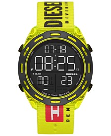 Diesel Men's Digital Crusher Yellow Canvas Strap Watch 46mm