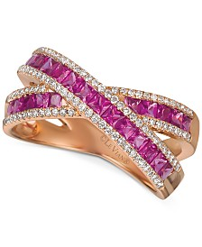 Le Vian® Passion Ruby (1-3/8 ct. t.w.) & Vanilla Diamonds® (1/4 c.t t.w.) Statement Ring in 14k Rose Gold