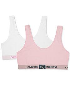 Calvin Klein Big Girls 2-Pack Monogrammed Bralettes