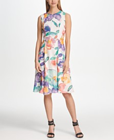 DKNY Chiffon Floral Printed A-line Dress