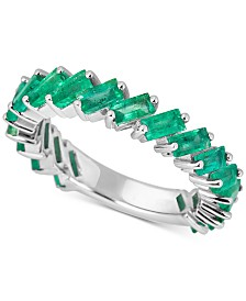 Emerald Baguette Band (3 ct. t.w.) in Sterling Silver