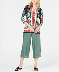 JM Collection Petite Ring-Trim Printed Tunic, Created for Macy's