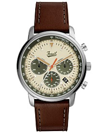 LIMITED EDITION  Fossil Men's Chronograph Goodwin Brown Leather Strap Watch 44mm, Created for Macy's