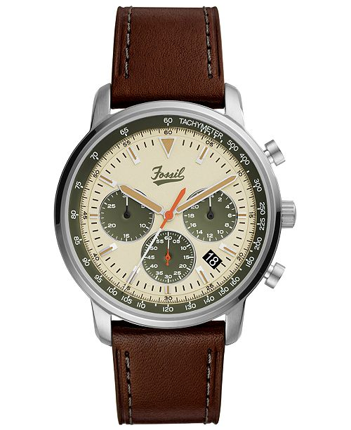 Fossil LIMITED EDITION  Men's Chronograph Goodwin Brown Leather Strap Watch 44mm, Created for Macy's