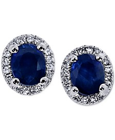 Sapphire (1-1/4 ct. t.w.) & Diamond (3/8 ct. t.w.) Halo Stud Earrings in 14k White Gold