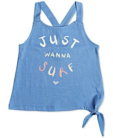 Little Girls Surf-Print Tie-Hem Cotton Tank Top