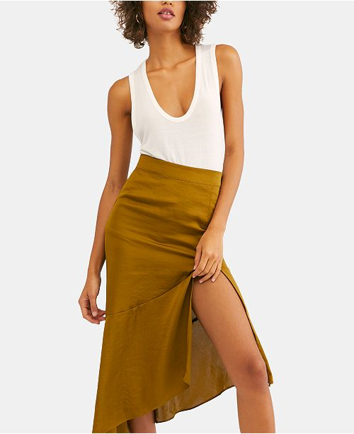Free People Lola Slit Ruffled Midi Skirt