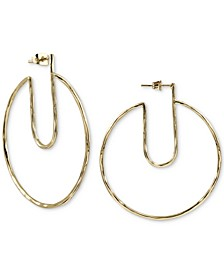 Gold-Tone Hammered Cut-Out Hoop Earrings in Gold-Plated Sterling Silver