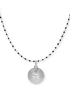 "Beaded Cross Circle 18"" Pendant Necklace in Sterling Silver"