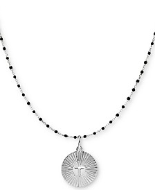 "Argento Vivo Beaded Cross Circle 18"" Pendant Necklace in Sterling Silver"