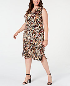 NY Collection Petite Plus Size Animal-Print Dress