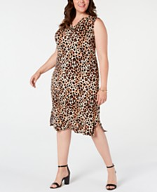 NY Collection Plus Size Animal-Print Dress