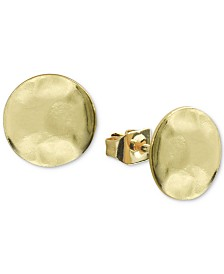 Argento Vivo Hammered Stud Earrings in Gold-Plated Sterling Silver