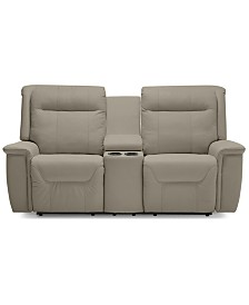 """Kolbrooke 77.6"""" Leather Power Recliner Loveseat with Console"""