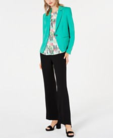 Bar III One-Button Notch-Collar Jacket, Printed Sleeveless Halter-Neck Top & Ruffle-Waist Pants, Created for Macy's