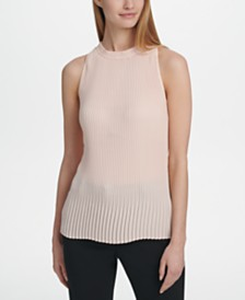 DKNY Sleeveless High-Neck Pleated Top