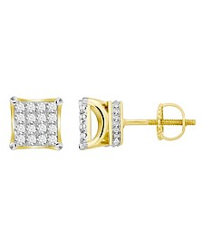 Men's Diamond (3/4 ct.t.w.) Square Earring Set in 10k Yellow Gold