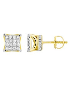 Diamond (3/4 ct.t.w.) Square Earring Set in 10k Yellow Gold