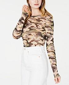 Juniors' Printed Mesh Bodysuit, Created for Macy's