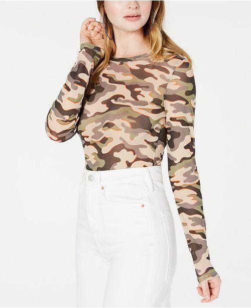 Material Girl Juniors' Printed Mesh Bodysuit, Created for Macy's