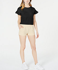 Material Girl Juniors' Back-Tie French Terry Crop Top, Created for Macy's