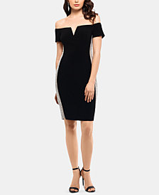 XSCAPE Beaded Off-The-Shoulder Bodycon Dress