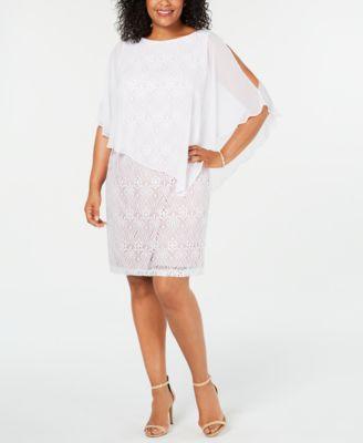 Connected Women/'s Plus Size Lace Cold-Shoulder Cape Dress