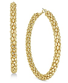 Gold-Tone Beaded Mesh Extra Large Hoop Earrings , Created for Macy's